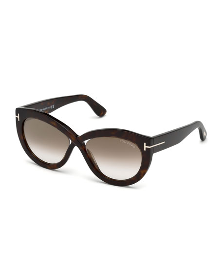 TOM FORD Diane Acetate Butterfly Sunglasses, Brown Pattern
