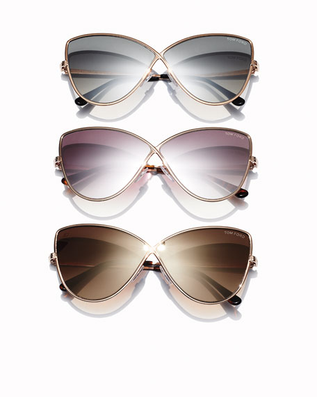 Elise Gradient Cross-Bridge Sunglasses