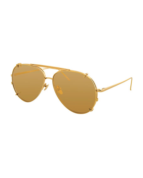 Linda Farrow Aviator Glasses w/ Removable Sun Lenses,