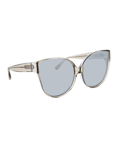 Linda Farrow Transparent Cat-Eye Sunglasses, Gray Pattern