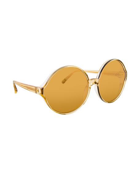 Linda Farrow Transparent Round Sunglasses, Yellow Pattern