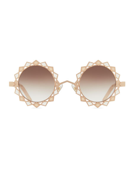 Moon & Stars Stained Glass Round Sunglasses