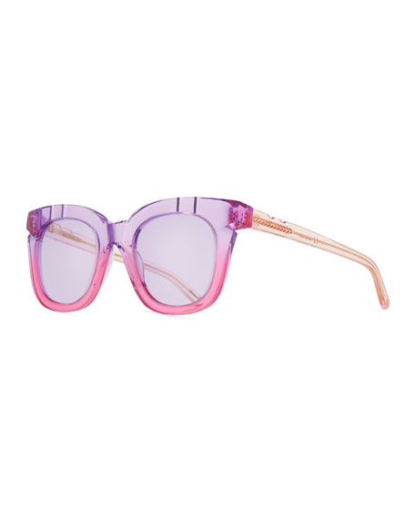 Pools & Palms Notched Square Sunglasses, Pink