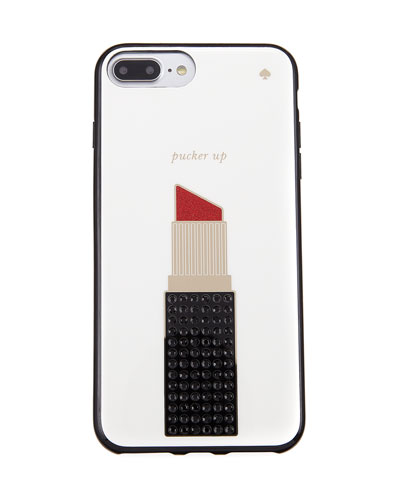 pucker up lipstick jeweled iPhone 7+ case