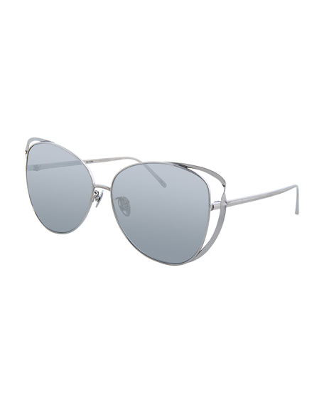 Linda Farrow Cat-Eye Titanium-Twist Sunglasses, White Gold