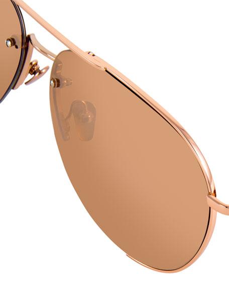 Semi-Rimless Mirrored Aviator Sunglasses, Rose Gold