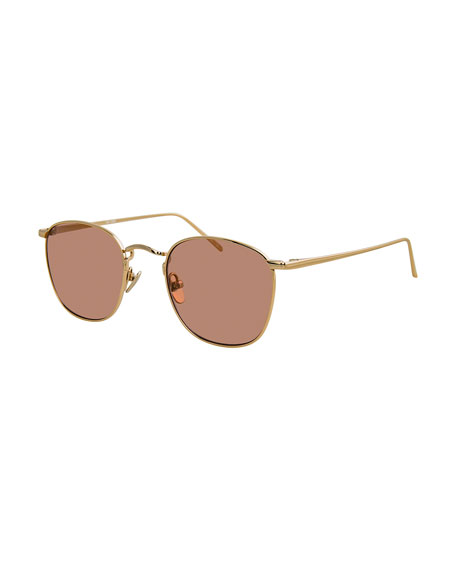 Linda Farrow Square Gradient Titanium Sunglasses, Gold