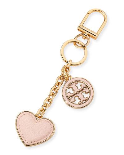 Logo Heart Key Fob w/ Leather Trim