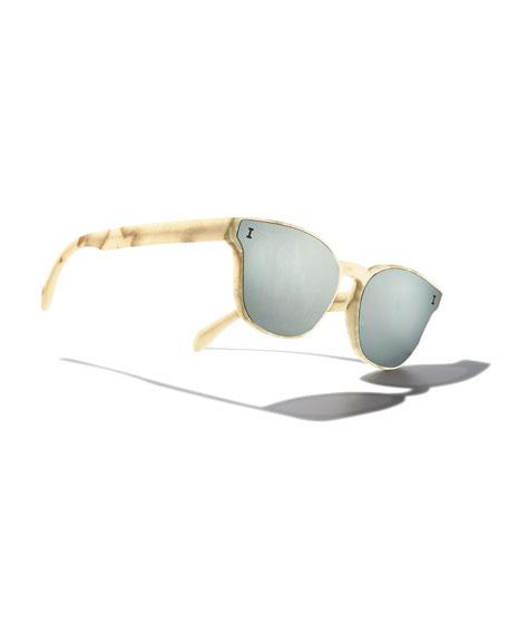 Rectangle Lenses-Over-Frame Sunglasses, Beige