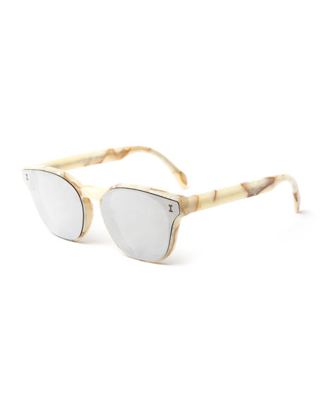 Illesteva Rectangle Lenses-Over-Frame Sunglasses, Beige