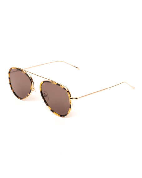 Illesteva Single-Bridge Acetate Aviator Sunglasses, Brown