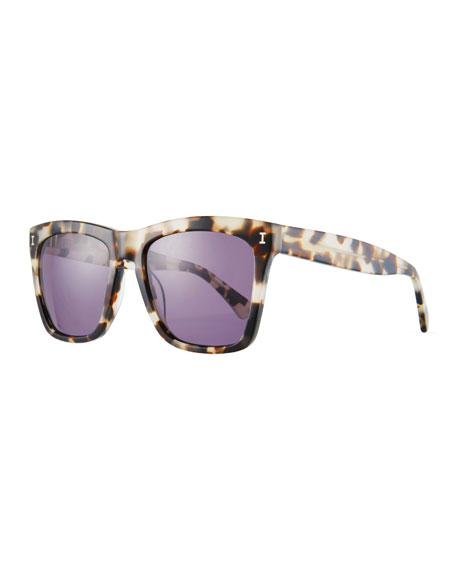 Illesteva Square Monochromatic Sunglasses, Black Pattern