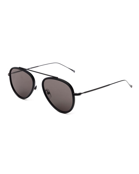 Illesteva Single-Bridge Acetate Aviator Sunglasses, Black
