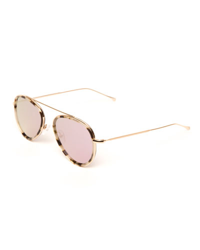 Single-Bridge Acetate Aviator Sunglasses, White Pattern