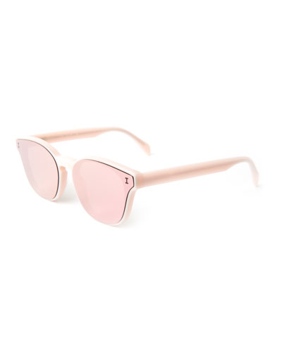 Rectangle Lenses-Over-Frame Sunglasses, Pink