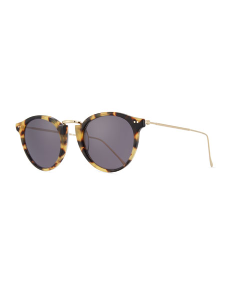 Illesteva Round Acetate & Steel Sunglasses, Brown Pattern