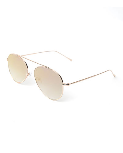 Single-Bridge Steel Aviator Sunglasses, Gold