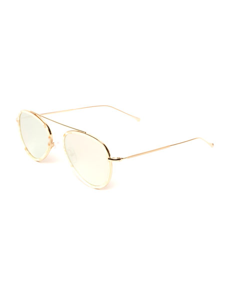 Illesteva Single-Bridge Acetate Aviator Sunglasses, Beige