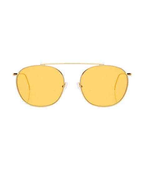 Single-Bridge Steel Square Sunglasses, Golden