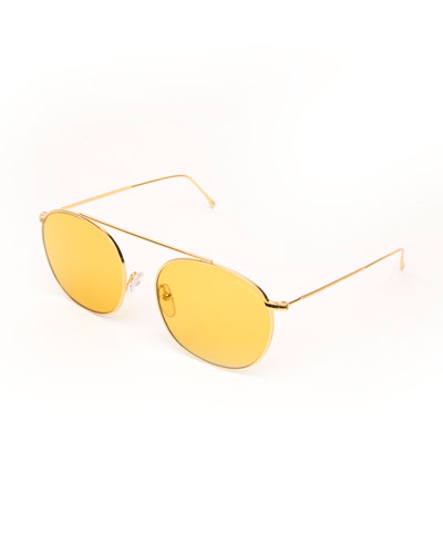 Single-Bridge Steel Square Sunglasses, Golden