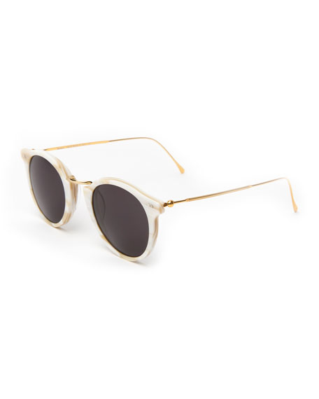 Illesteva Round Acetate & Steel Sunglasses, Beige