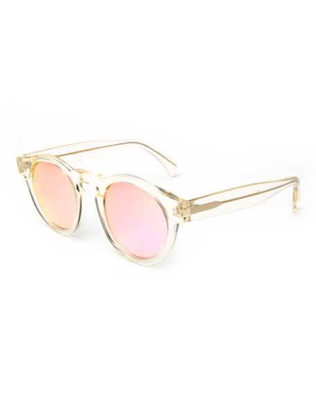 Illesteva Round Transparent Mirrored Sunglasses, Champagne