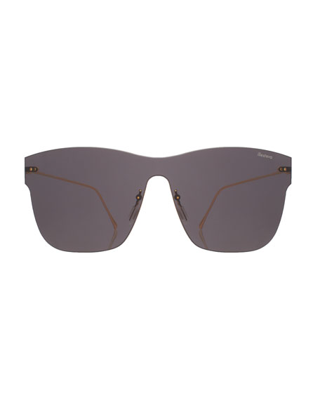 Square Rimless Steel Sunglasses, Gray