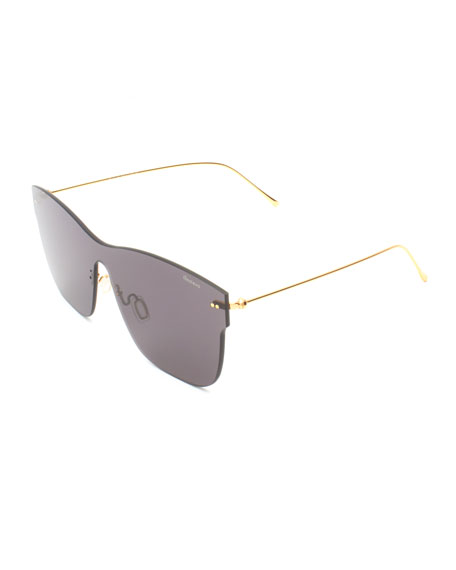 Illesteva Square Rimless Steel Sunglasses, Gray