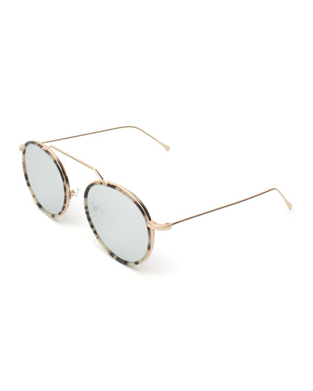 Illesteva Round Geometric Bar Mirrored Sunglasses, White