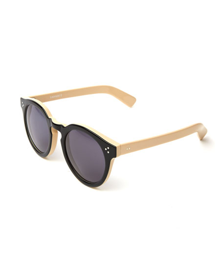 Illesteva Two-Tone Round Monochromatic Sunglasses, Black