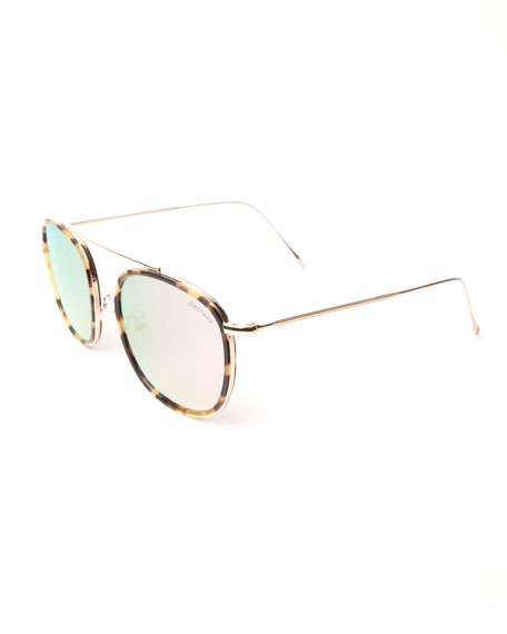 Illesteva Single-Bridge Acetate Square Sunglasses, Brown Pattern