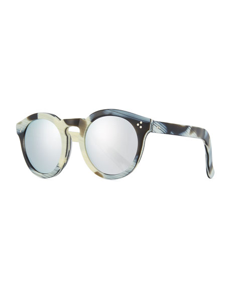 Illesteva Patterned Round Mirrored Sunglasses, Multi Pattern