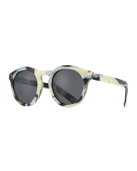 Patterned Round Monochromatic Sunglasses, Multi Pattern