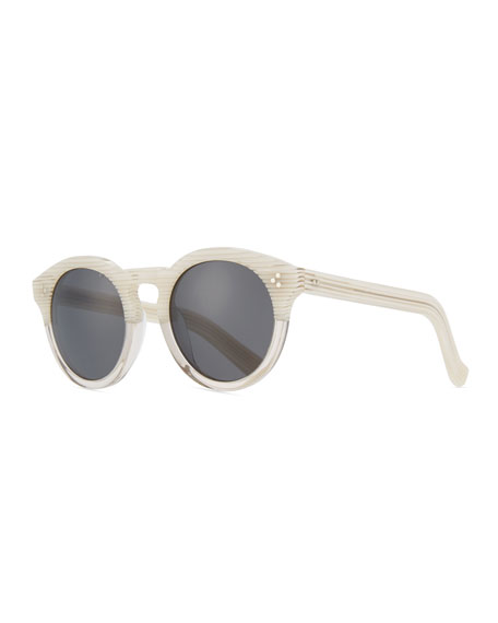 Illesteva Patterned Round Monochromatic Sunglasses, White Pattern