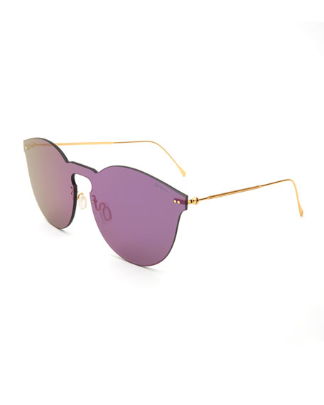 Illesteva Round Mirrored Mask Sunglasses, Purple