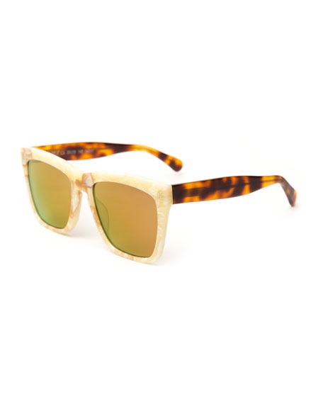 Illesteva Mixed-Pattern Square Sunglasses