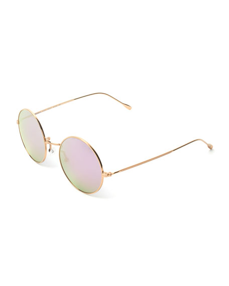 Illesteva Round Mirrored Metal Sunglasses, Golden