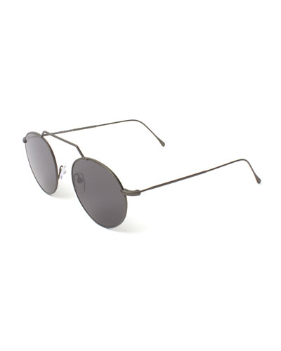 Round Geometric Bar Mirrored Sunglasses, Gray