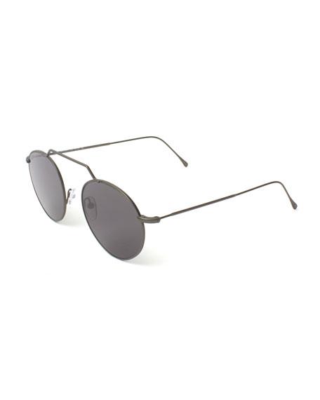 Illesteva Round Geometric Bar Mirrored Sunglasses, Gray