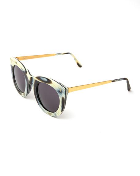Illesteva Boca II Cat-Eye Sunglasses, Multi Pattern