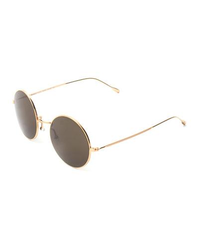 Round Mirrored Metal Sunglasses, Golden