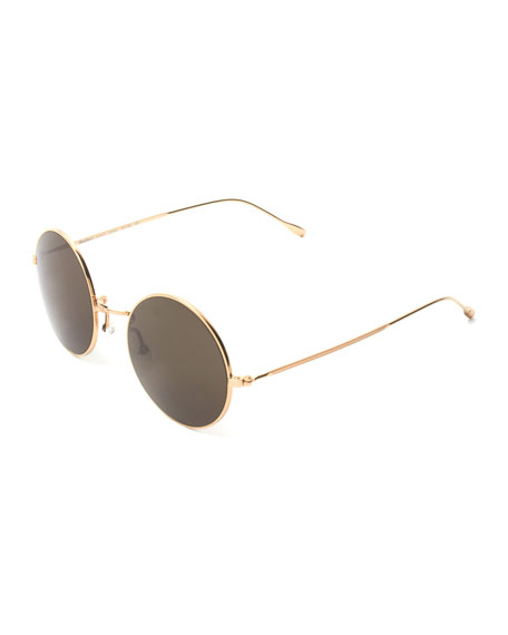 Illesteva Round Mirrored Metal Sunglasses, Golden