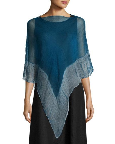 Eileen Fisher Shibori Organic Linen Borders Poncho, Jewel