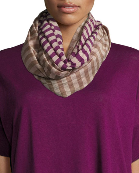 Eileen Fisher Hand-Loomed Organic Cotton/Silk Stripe Scarf