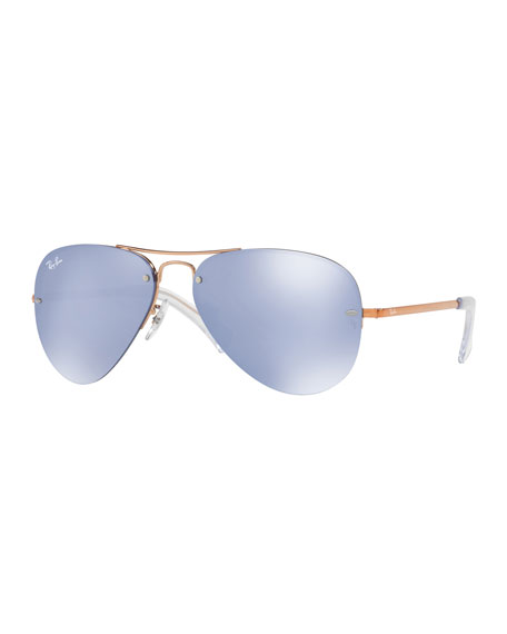 Ray-Ban Iridescent Rimless Aviator Sunglasses, Brown