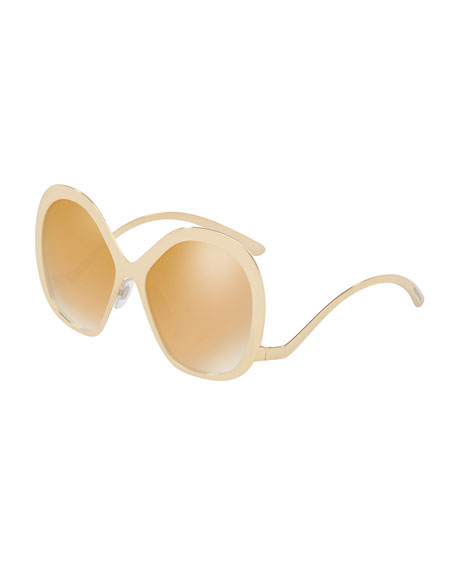 Square Mirrored Sunglasses with Rounded Arms, Gold