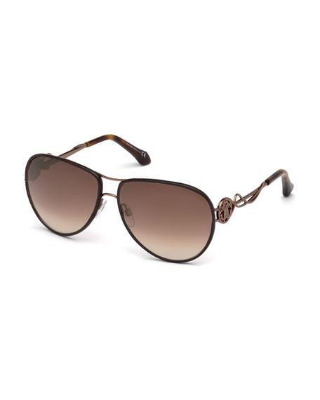 Roberto Cavalli Intertwining Gradient Aviator Sunglasses, Brown