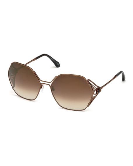 Roberto Cavalli Hexagon Gradient Metal Sunglasses, Brown