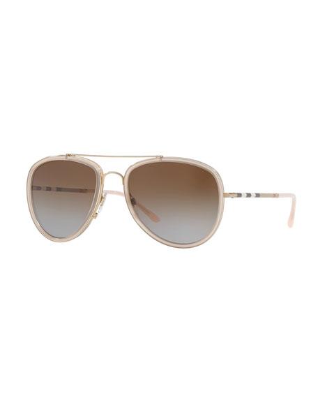 Burberry Steel Aviator Sunglasses w/ Check Arms