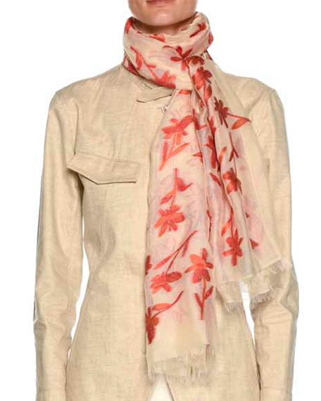 Floral-Print Scarf with Raw-Edge